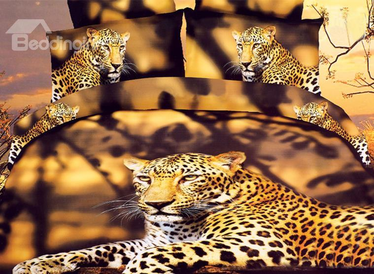 High Quality Lifelike Fierce Leopard Print 4 Pieces Polyester 3d Bedding Sets