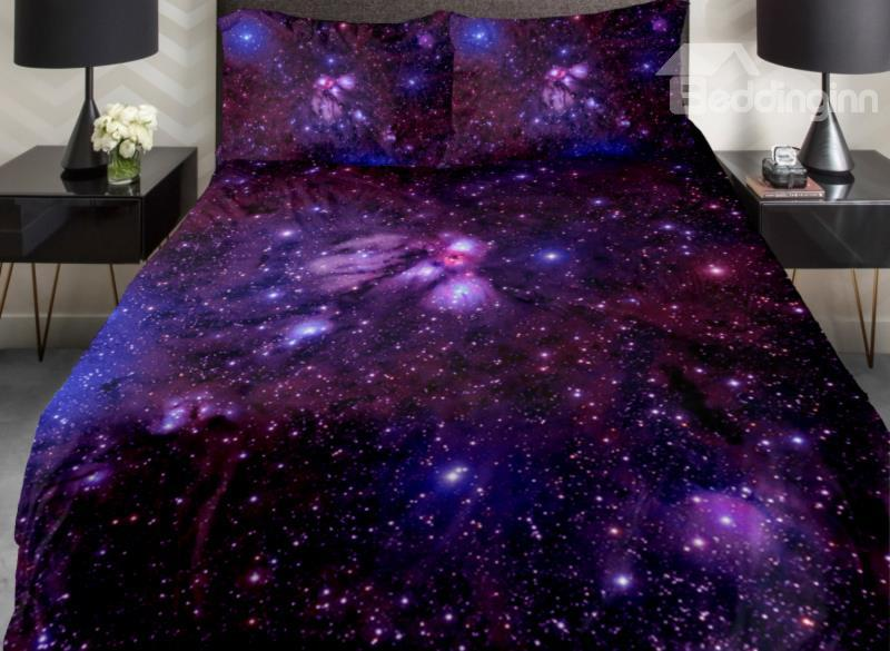 Amazing Shining Purple Galaxy Print 4-Piece Duvet Cover Sets