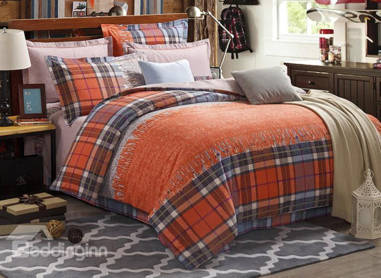 Top Quality Scarf And Grid Pattern 4-Piece Cotton Duvet Cover Sets
