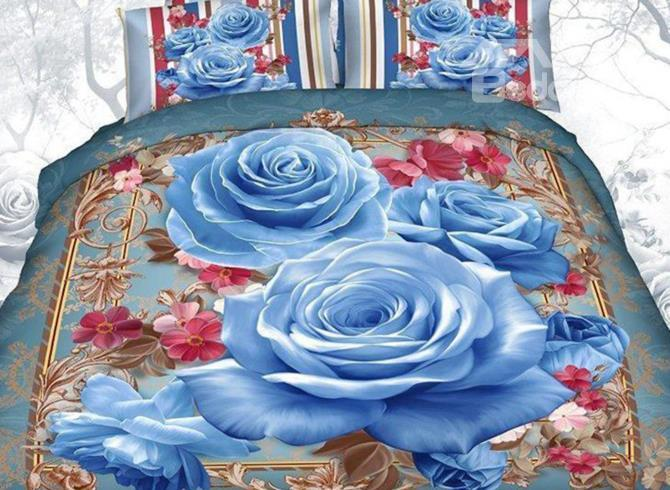 Blue Rose Cane Border Print 4-Piece 3d Duvet Cover Sets