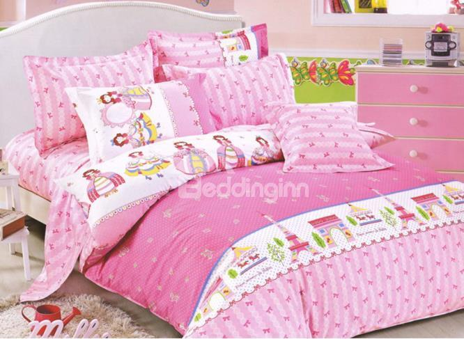 Pretty Pink Princess And Castle Print 4-Piece Cotton Duvet Cover Sets