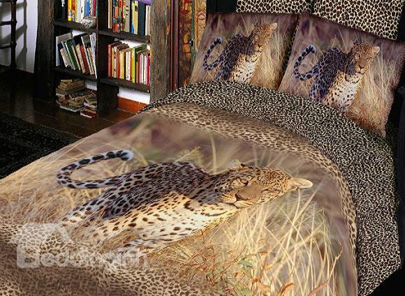Luxury Leopard Print 4 Piece Bedding Sets Duvet Cover Sets