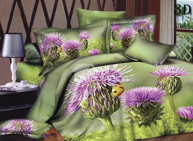 Unique Purple Flower With Green Background Print 4-Piece 3d Duvet Cover Sets