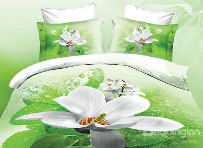 Fancy White Flower Print 4-Piece Polyester 3d Duvet Cover Sets