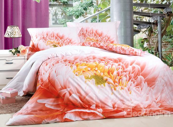 Beautiful Dahlia Flower Print 4-Piece Duvet Cover Sets