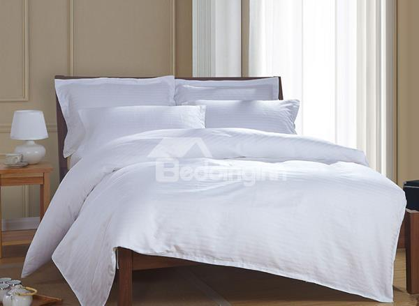 Comfortable Pure White 4-Piece 100%Cotton Duvet Cover Sets