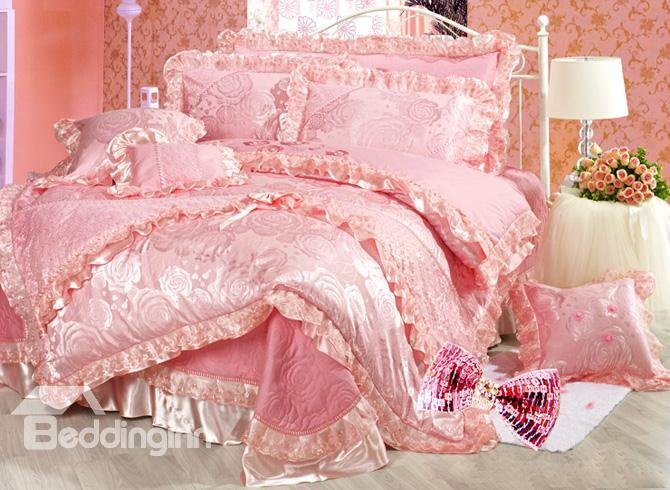 Fairytale Pink Jacquard Percale Flower 6 Piece Bedding Sets 10489745)