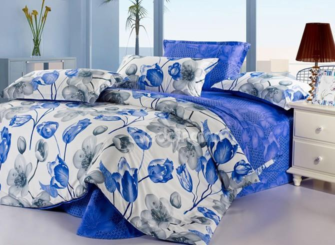 Charming Blue And Gray Flower Print 4-Piece 3d Cotton Duvet Cover Sets