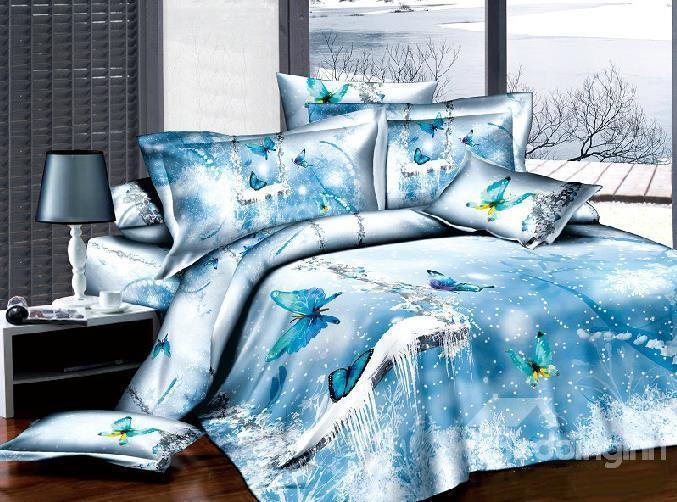New Arrival 100%Cotton 3d Ice Blue Butterfly 4 Piece Bedding Sets/Duvet Cover Sets
