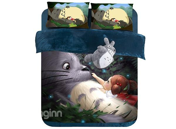 Super Cute Fat Cat And Little Girl Print 4-Piece Coral Fleece Duvet Cover Sets