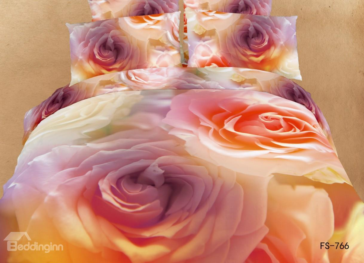 New Arrival Charming Orange Roses Print 3d Bedding Sets