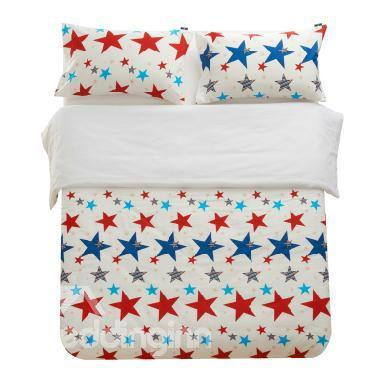 100%Cotton Colorful Five-Pointed Star Reactive Print 4 Piece Bedding Sets