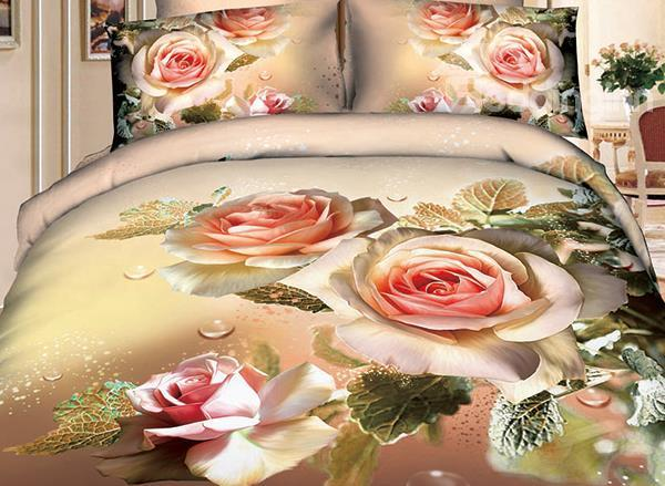 New Arrival Cotton Elegant Flower Blossoms Print 4 Piece Bedding Sets