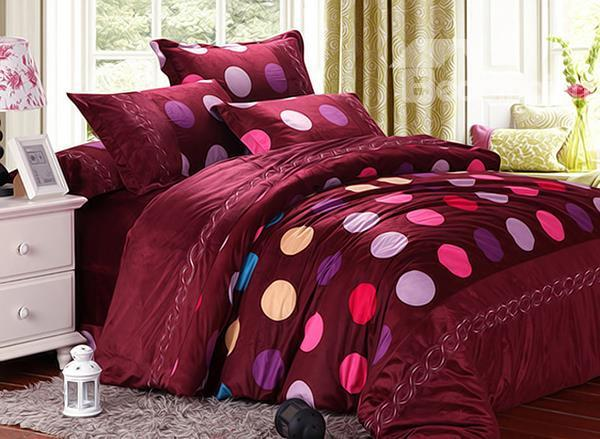 Colorful Little Dot With Wine Red Background 4-Piece Short Plush Duvet Cover Sets