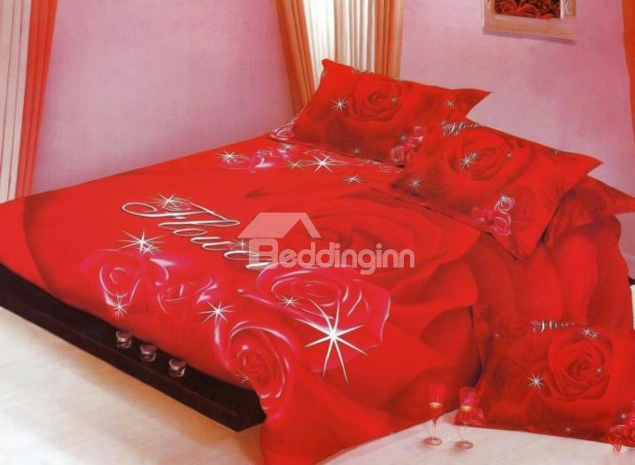 Romantic Shining Red Rose Print 4-Piece Wedding Duvet Cover Sets