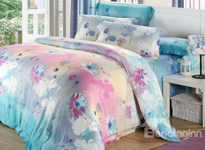 High Quality Comfortable Amazing Floral Patterns 4 Pieces Tencel Bedding Sets