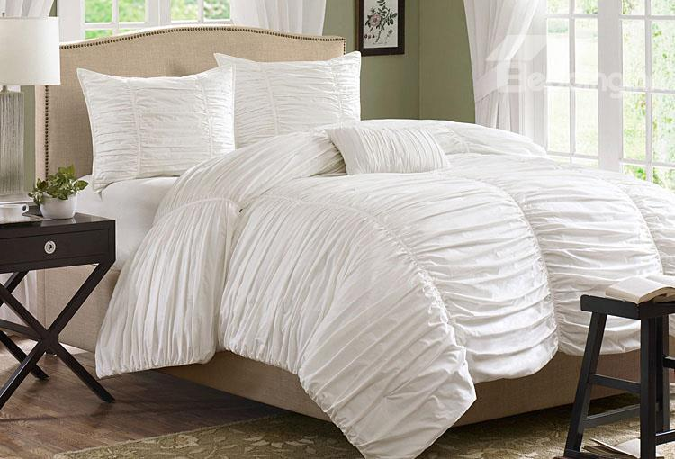 New Arrival 100%Cotton Pure White Lace Duvet Cover Sets