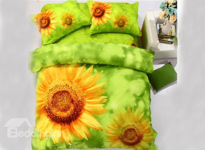 Bright Yellow Sunflower Print 4-Piece Polyester 3d Duvet Cover Sets