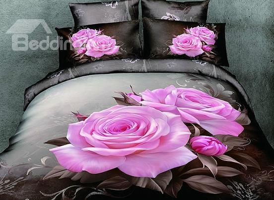 100%Cotton Lifelike Big Pink Roses With Brown Background Print 4-Piece Bedding Sets