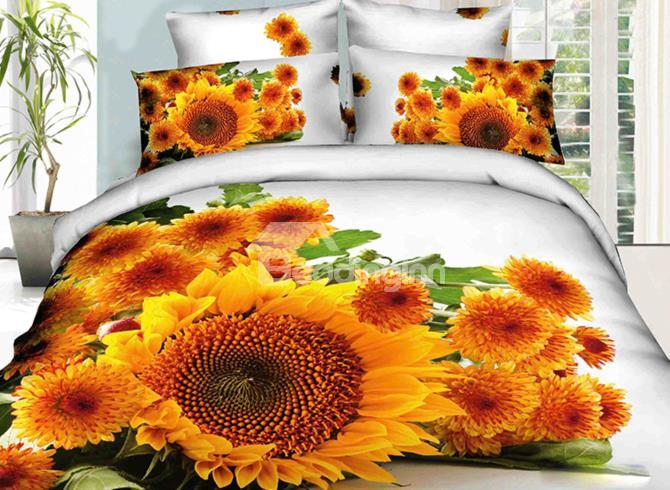 Flourishing Sunflower And Daisy Print 4-Piece 3d Duvet Cover Sets