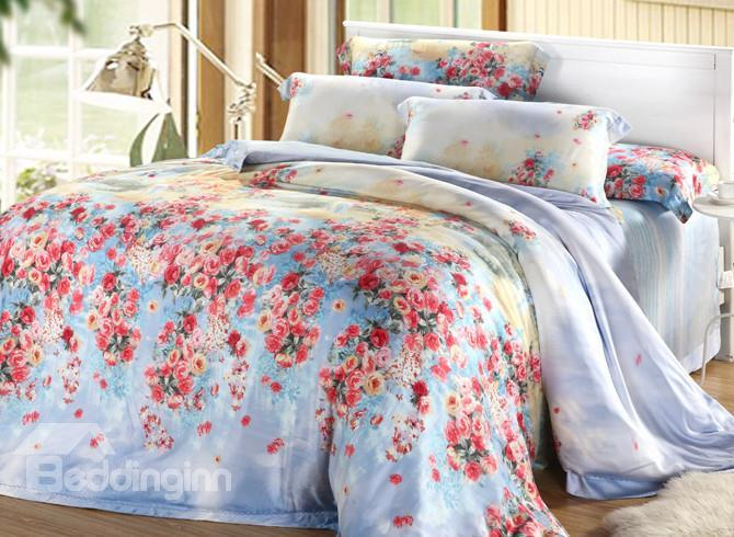 Comfortable Elegant Red Floral Patterns 4 Pieces Tencel Bedding Sets