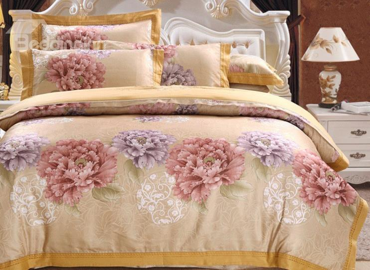 Splender Peony Print 4-Piece Tencel Duvet Cover Sets