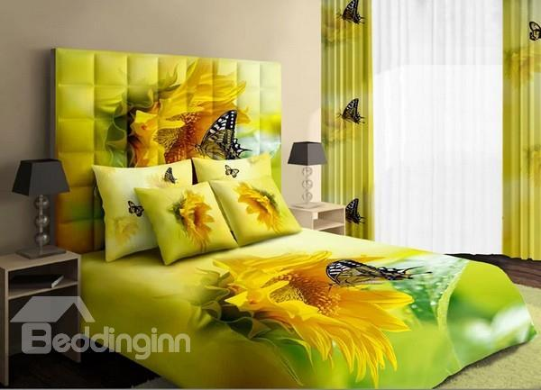 Warm-Toned Bright Yellow Sunflower And Butterfly Cotton 4 Piece Bedding Sets 10489872)
