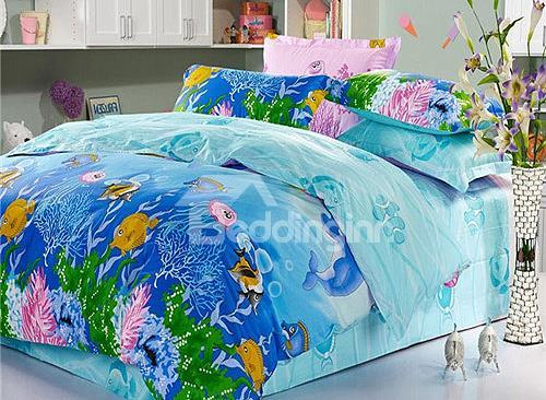 Colorful Fishes In Sea Print 4 Piece Cotton Kids Duvet