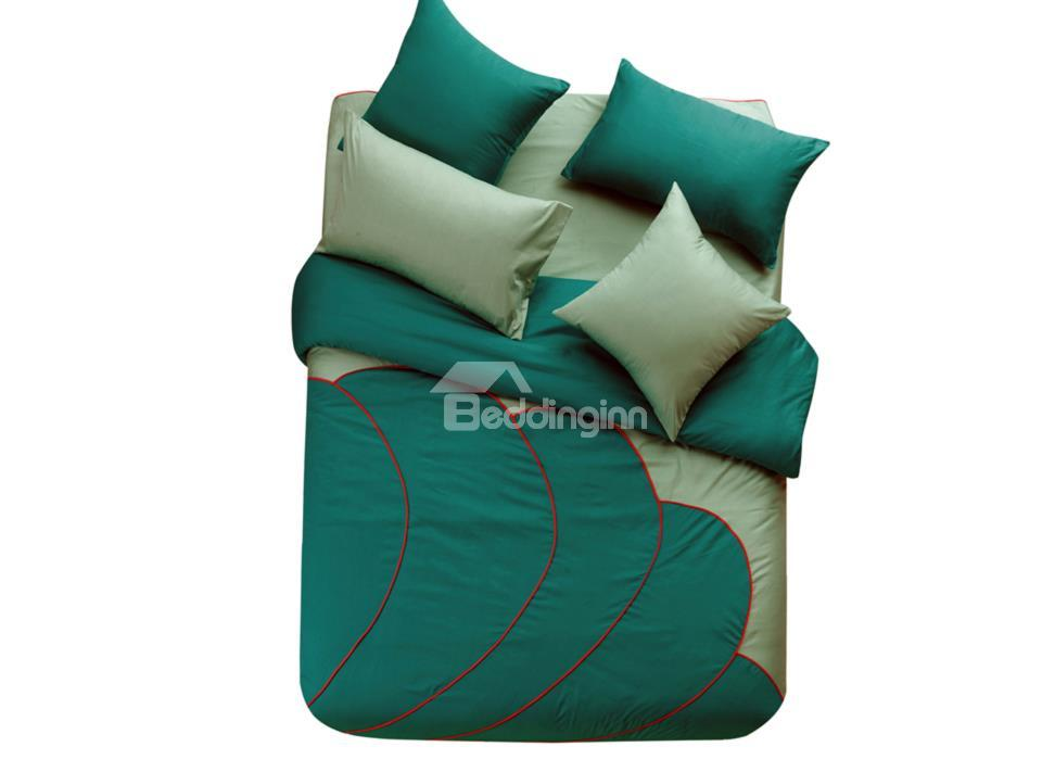New Arrival Modern Style Beautiful Green And Jasper Color 6 Piece Bedding Sets