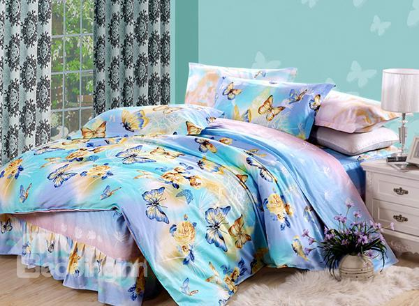 Beautiful Blue And Yellow Butterflies Print 4-Piece Cotton Duvet Cover Sets