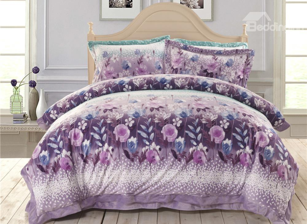 New Arrival Floral Lilac Sandedcloth Material 4 Piece Bedding Sets