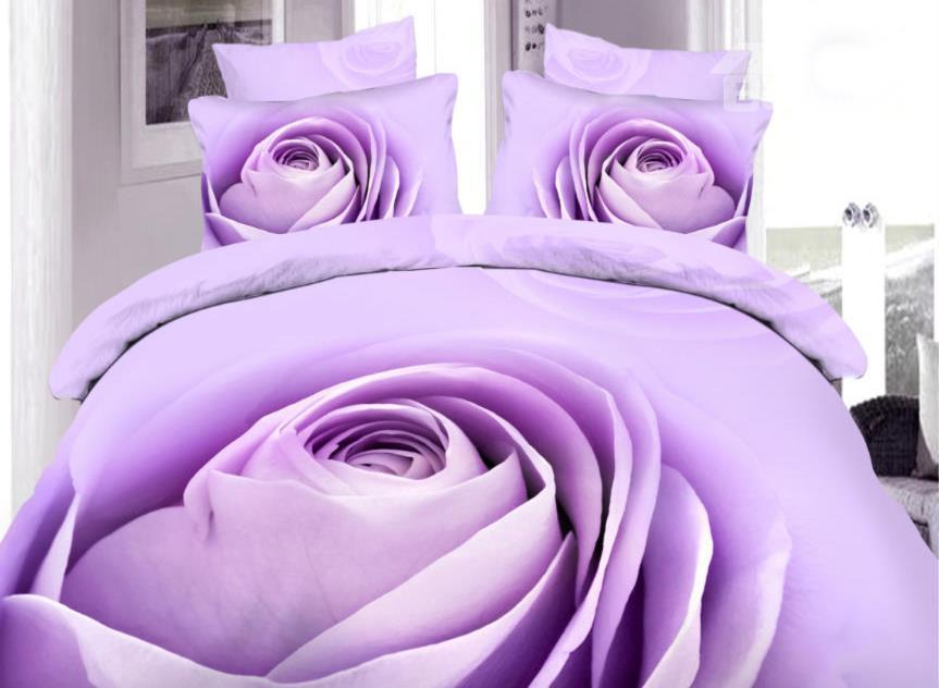 Amazing Purple Rose Bud Print 4-Piece 100%Cotton Duvet Cover Sets