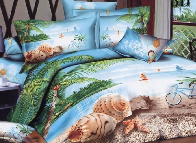 Beautiful Spiral Shell And Starfish On Beach Print 4-Piece Polyester 3d Duvet Cover Sets