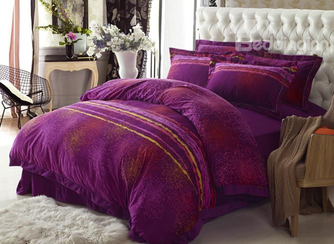 Luxury Purple Simple Style Sandedcloth Material 4 Piece Bedding Sets