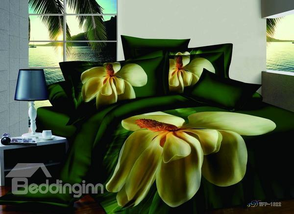 Hot Sell 3d Printed 4 Pieces Bedding Sets With Blooming Flowers