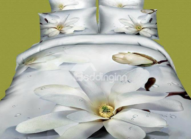 High Quality White Flower Print 4-Piece 3d Cotton Duvet Cover Sets