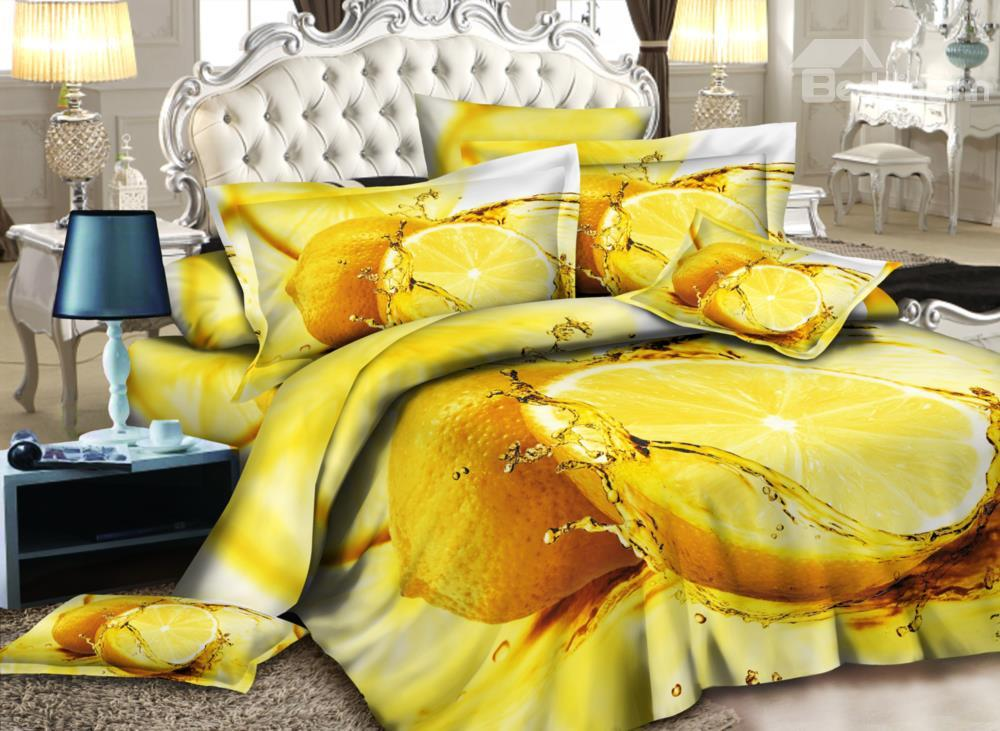 Fresh Lemon Print 4-Piece Polyester Duvet Cover Sets