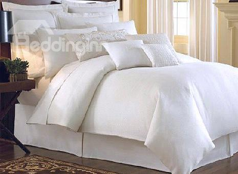 Top Class Pure White 4-Piece 100%Cotton Duvet Cover Sets