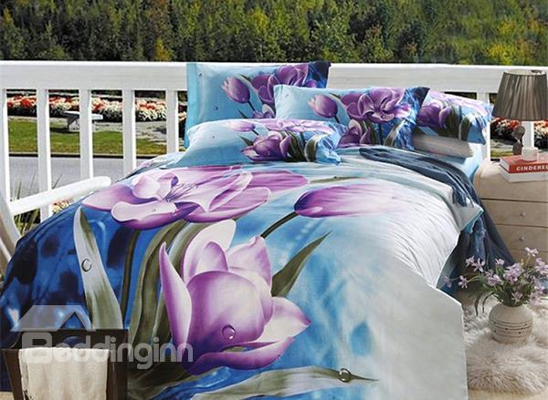 Purple Flower With Blue Background Print 4-Piece Cotton Duvet Cover Sets