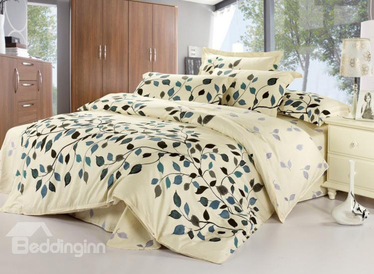 Graceful Leaves 100%Cotton Drill 4 Piece Light Beige Bedding Sets