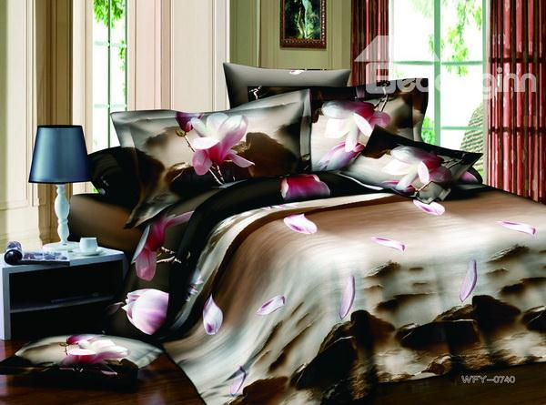 Super Beautiful Mood Landscape With Pink Flowers 4 Pieces Bedding Sets