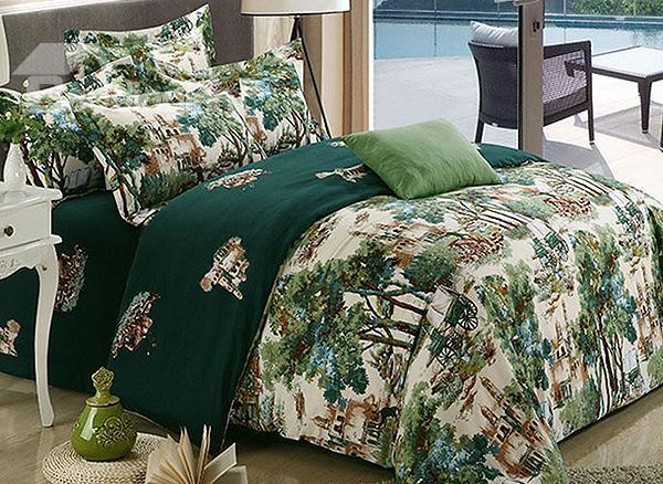 Dreamlike Garden Print 4-Piece 100%Cotton Duvet Cover Sets