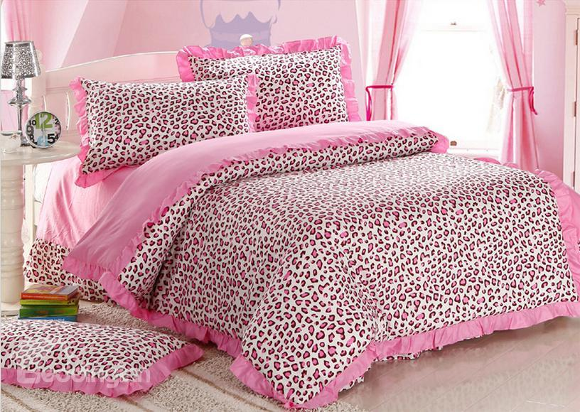 Sexy Pink Leopard Print 4 Piece Bedding Sets/Duvet Cover Sets