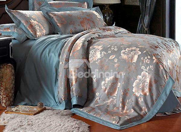 Magnificent Peony Pattern 4-Piece Silky Duvet Cover Sets
