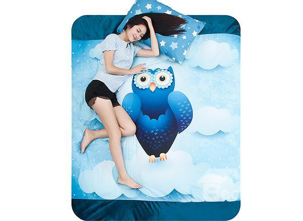 Blue Owl In The Stars Print 4-Piece Coral Fleece Duvet Cover Sets