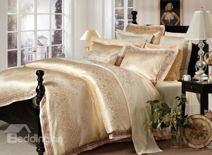 Luxury Golden Medallion Jacquard 4-Piece Cotton Duvet Cover Sets