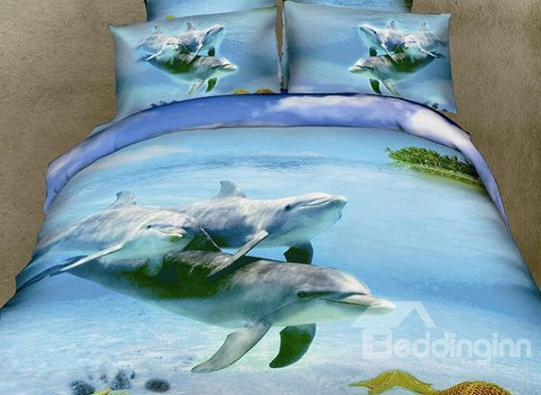 New Arrival Cozy Family Of Dolphin Print 4 Piece Bedding Sets