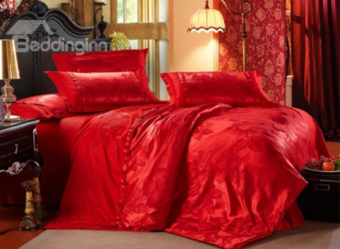 Brilliant Red Flower Pattern 100%Cotton 4-Piece Duvet Cover Sets