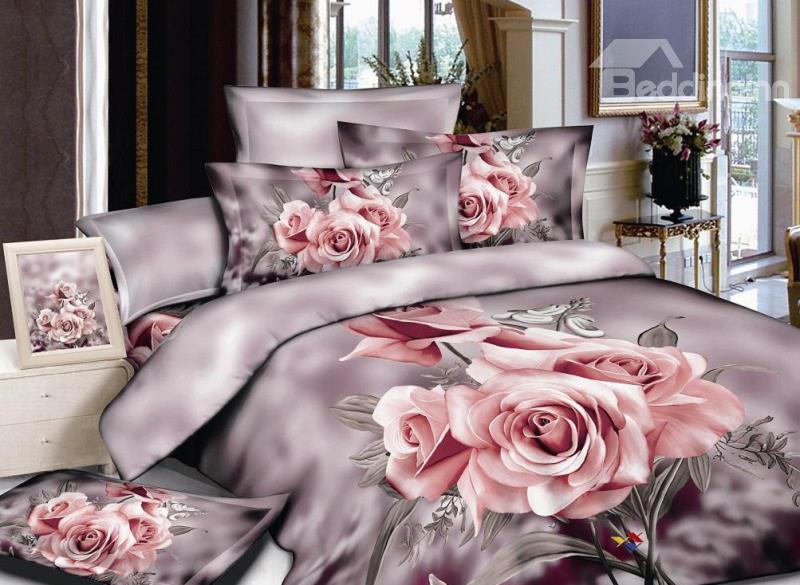 Comfortable Pink Rose Print 4-Piece Cotton Duvet Cover Sets