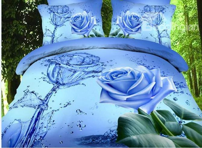 High Quality Elegant Blue Roses Print 4 Pieces Polyester 3d Bedding Sets
